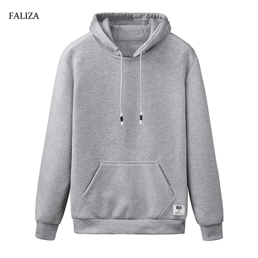 FALIZA 2019 Новая весна осень толстовки мужчины повседневная спортивная одежда с длинным рукавом сплошной цвет с капюшоном куртка уличная WY110