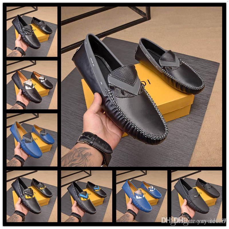 A10 10 scarpe stile FDbrands Uomo fannulloni piani Uomo Nero Borchie scamosciata Mocassino scarpe da sera Evening Party Walking