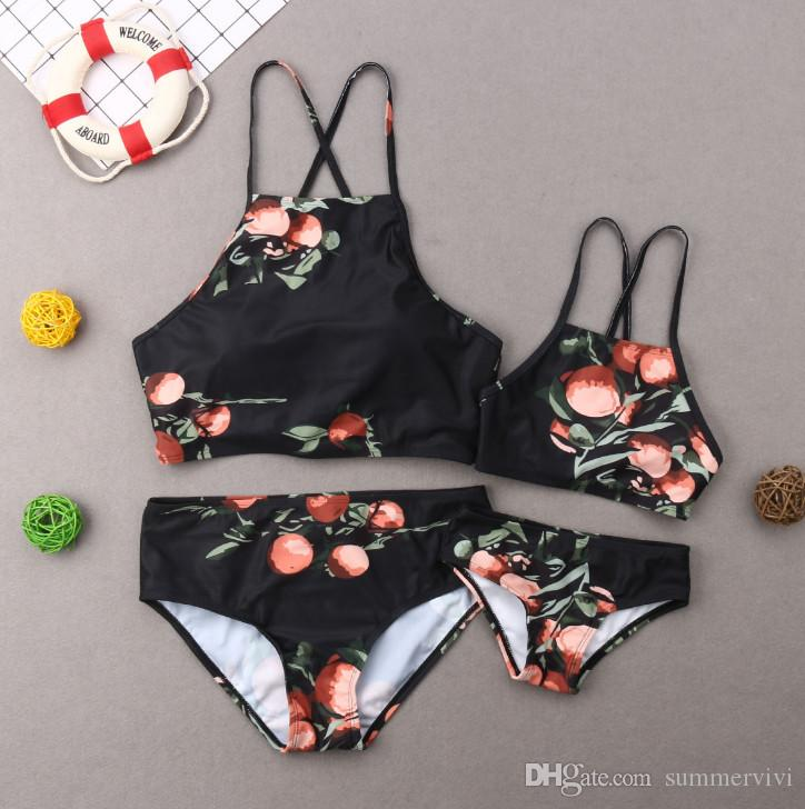Mother and daughter matching swimsuits children bikini kids fruit printed split swimming 2019 summer new girls beach bathing suits F4787
