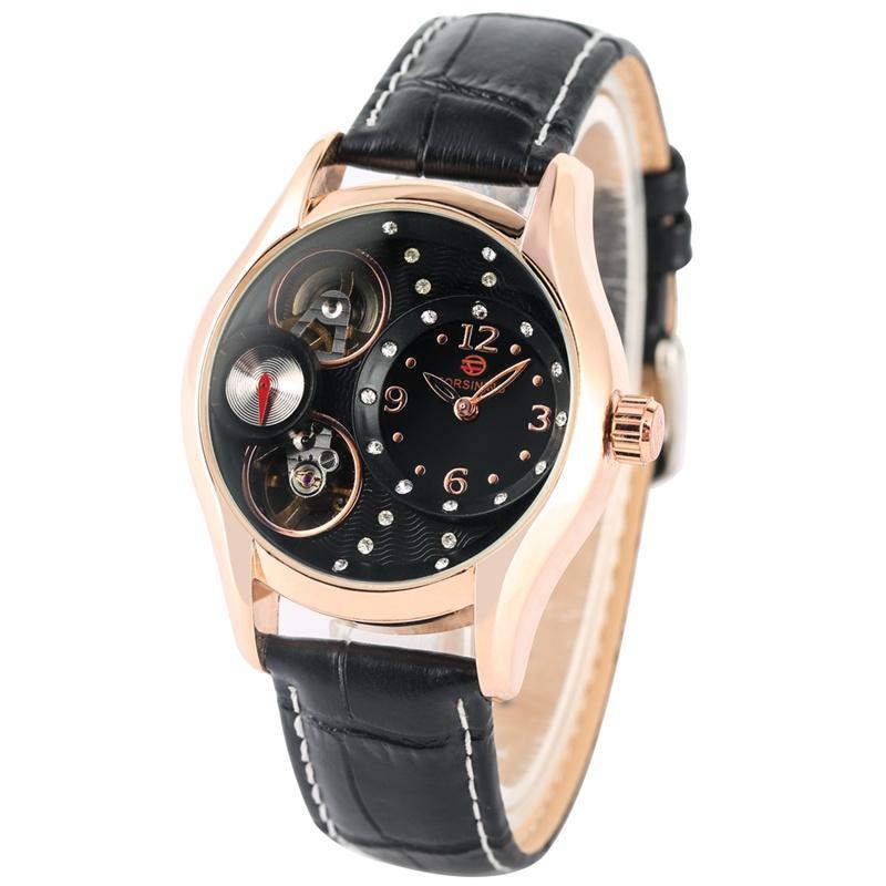 Chique Relógio Mecânico Automático Diamantes Encrusted Algarismos Arábicos Dial Watch Pulseira De Couro Durável Relógio de Pulso para As Mulheres