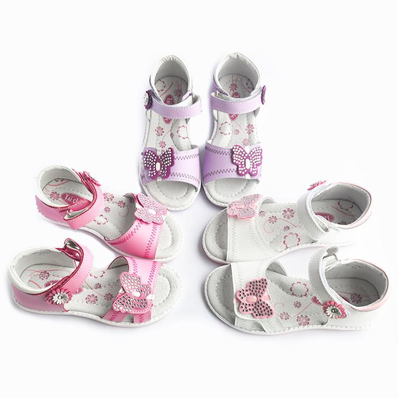 Fashion New White&purple 1pair Girl Genuine Leather Orthopedic Children Sandals Inner Length 17.2-20.7cm ,super Quality Shoes Y19051303