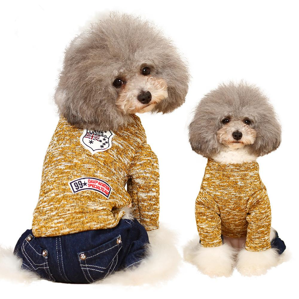 Sweaters Autumn Colors Dog Clothes Coats Small Chihuahua Teddy Costume Fall Outfit Classic Cachorro Roupa Pet Camisola 70C0102