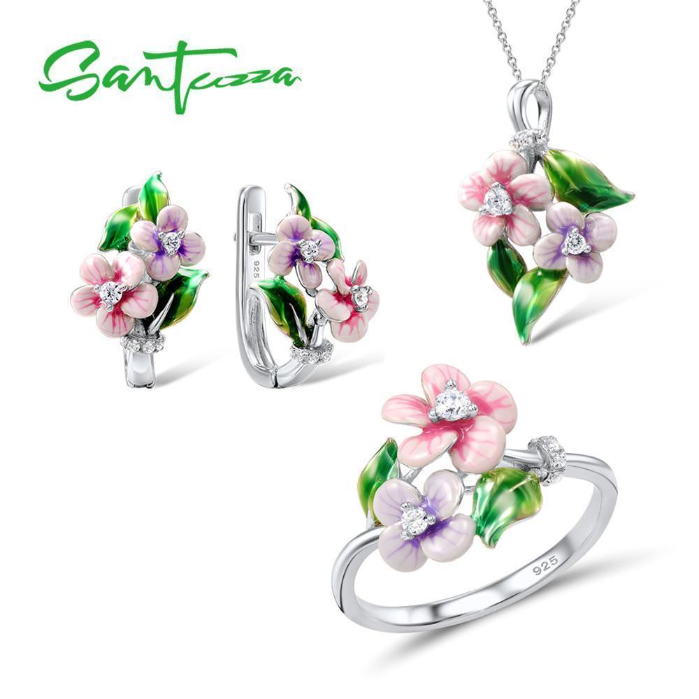 Santuzza Handmade Enamel Pink Flower Cz Stones Ring Earrings Pendent Necklace 925 Sterling Silver Women Jewelry Set J 190514