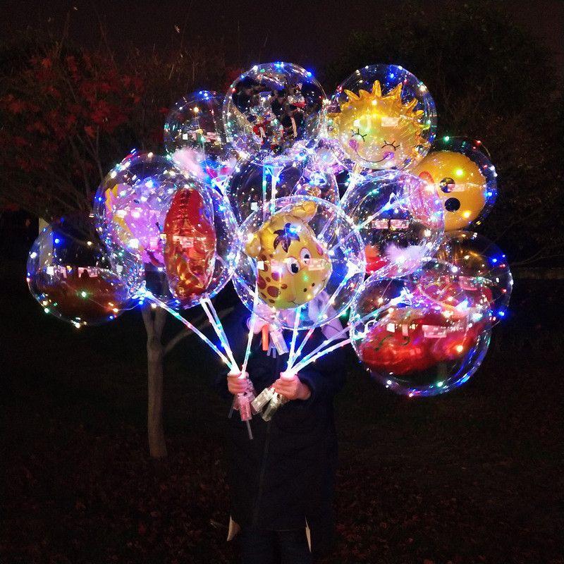 LED الكرتون بوبو الكرة بالون مضيئة تضيء شفاف بالونات لعب اللمعان بالون حفلة عيد الميلاد شريط الزفاف الديكور النادي