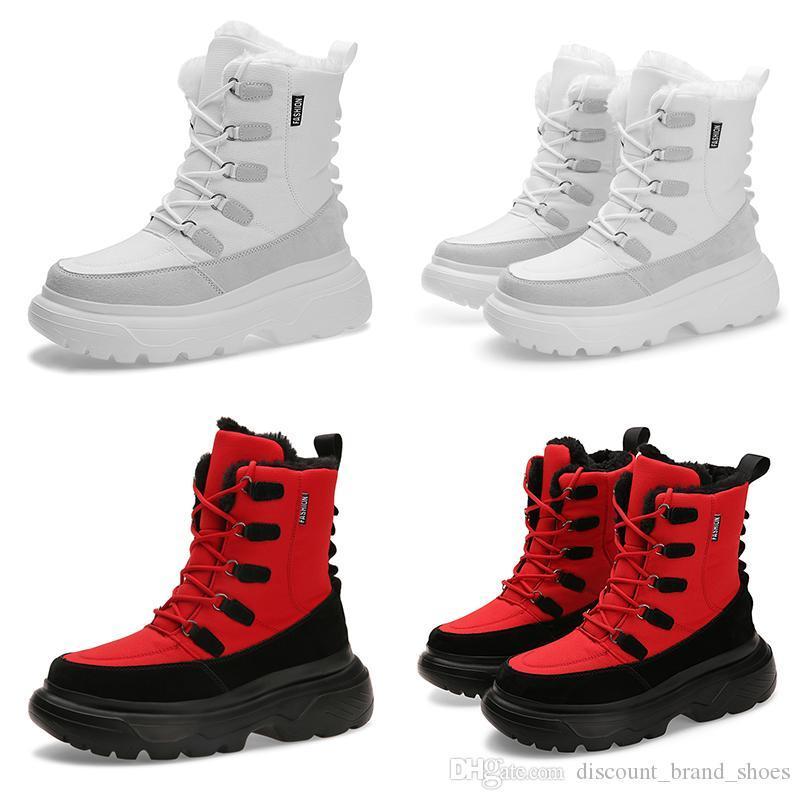2020 따뜻한 트리플 흰색 검은 색 빨간색 남자 소년 남성 부츠 TYPE6 나긋 나긋한 부드러운 겨울 디자이너 레이스 스니커즈 부트 트레이너 야외 산책 신발 망