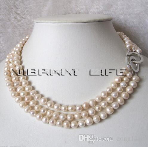 """Livraison gratuite Prix de gros 17-19 """", 6-8mm 3Row blanc collier de perles d'eau douce, couleur naturelle"""