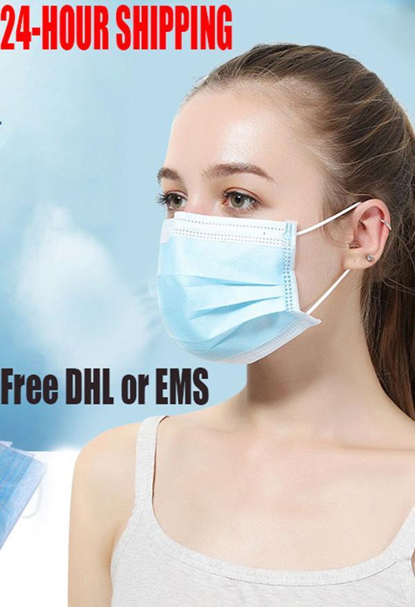 12 Stunden lieferbar! DHL-freies Verschiffen 3-7 Tage Einweg-Gesichtsmasken 3-Schicht-Antistaub-Breathable Gesichtsmaske Männer und Frauen Maske