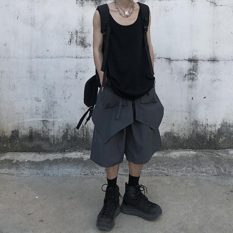 여름 한국형 인 하라주쿠 스타일 스트리트 레트로 분리 앙 앞치마 다섯 느슨한 공구 반바지 남성과 여성 포인트
