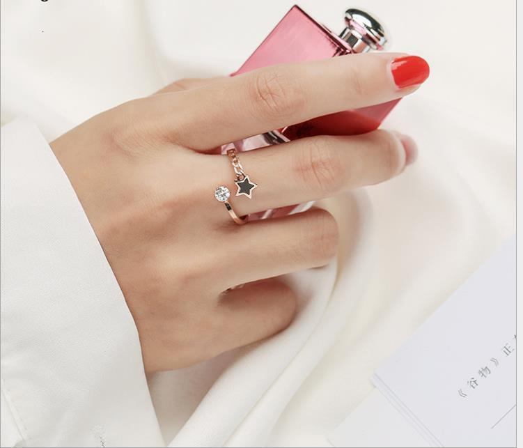 Nuovo tagliato zircone anello aperto piccolo anello fresco aperto