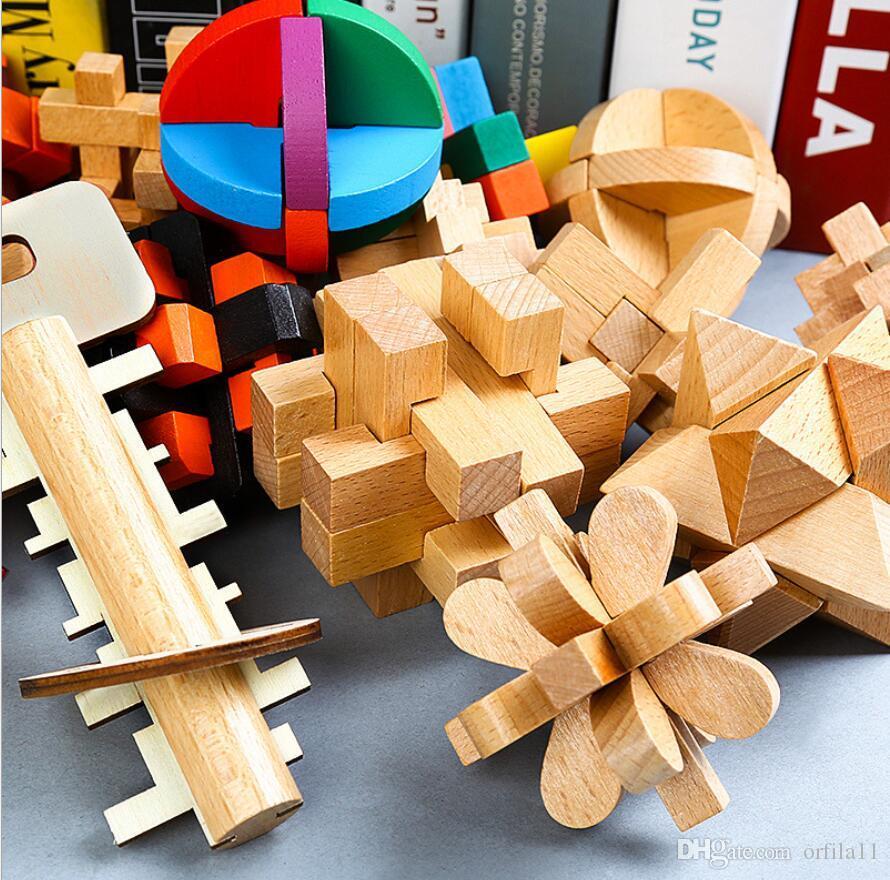 성인 아이 (11)에 대한 2017 새로운 디자인 IQ 브레인 티저 홍콩 명나라 잠금 3D 나무 연동 버 퍼즐 게임 장난감