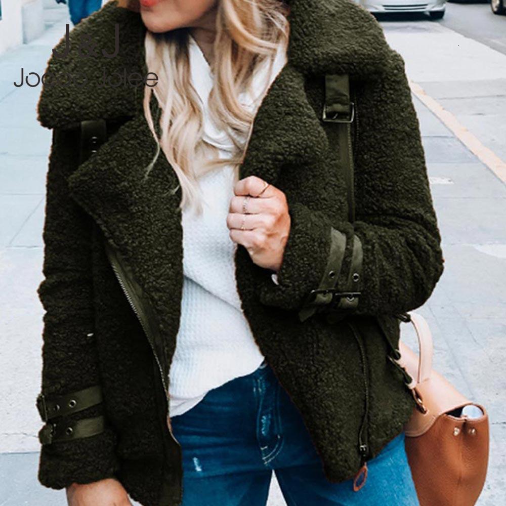 Jocoo Jolee Donne peluche cappotto Autunno Inverno caldo Jacket Furry pelliccia sintetica femminile moto cappotto casuale Zipper Belt Outwear 2019