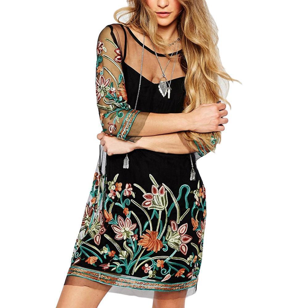 Vestido de las mujeres del verano 2019 de malla transparente ver a través vestido bordado de la flor del tirante de espagueti del mini vestido clubwear femenina más el tamaño 5XL