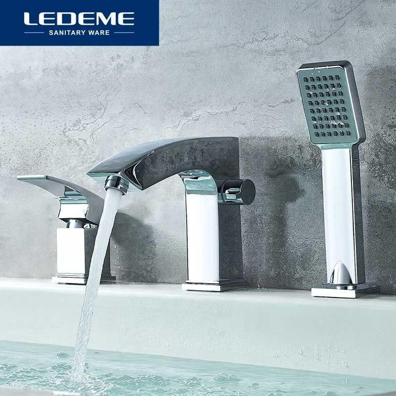 LEDEME حوض صنبور الحمام الكروم حوض الحنفية الأمطار حوض استحمام الحنفيات دش خلاط صنبور دش مجموعة L1198