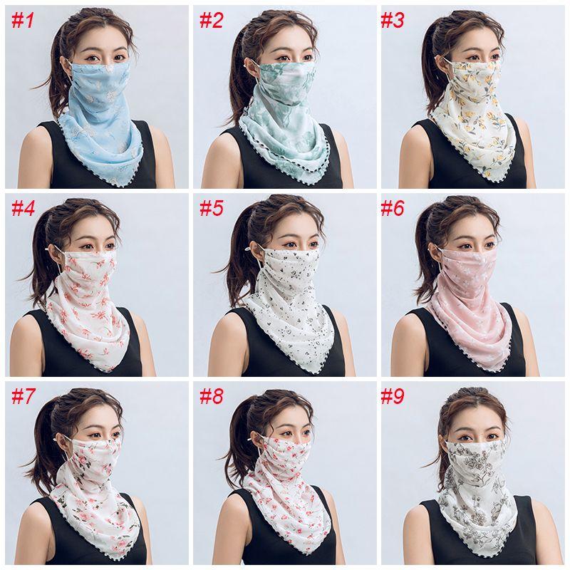 النساء بالجملة وشاح قناع الوجه متعددة الوظائف 13 أنماط الحرير الشيفون المنديل في الهواء الطلق صامد للريح نصف الوجه الغبار واقية من أقنعة مظلة FY