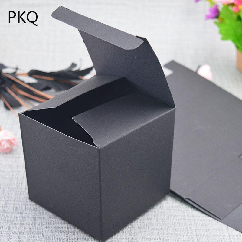 30 SIZE مربع هدية سوداء من الورق المقوى ورقة كرافت التعبئة والتغليف وصناديق التعبئة والتغليف كرافت، DIY علب حلوى الزفاف الأبيض اليدوية وصناديق الصابون SH190920