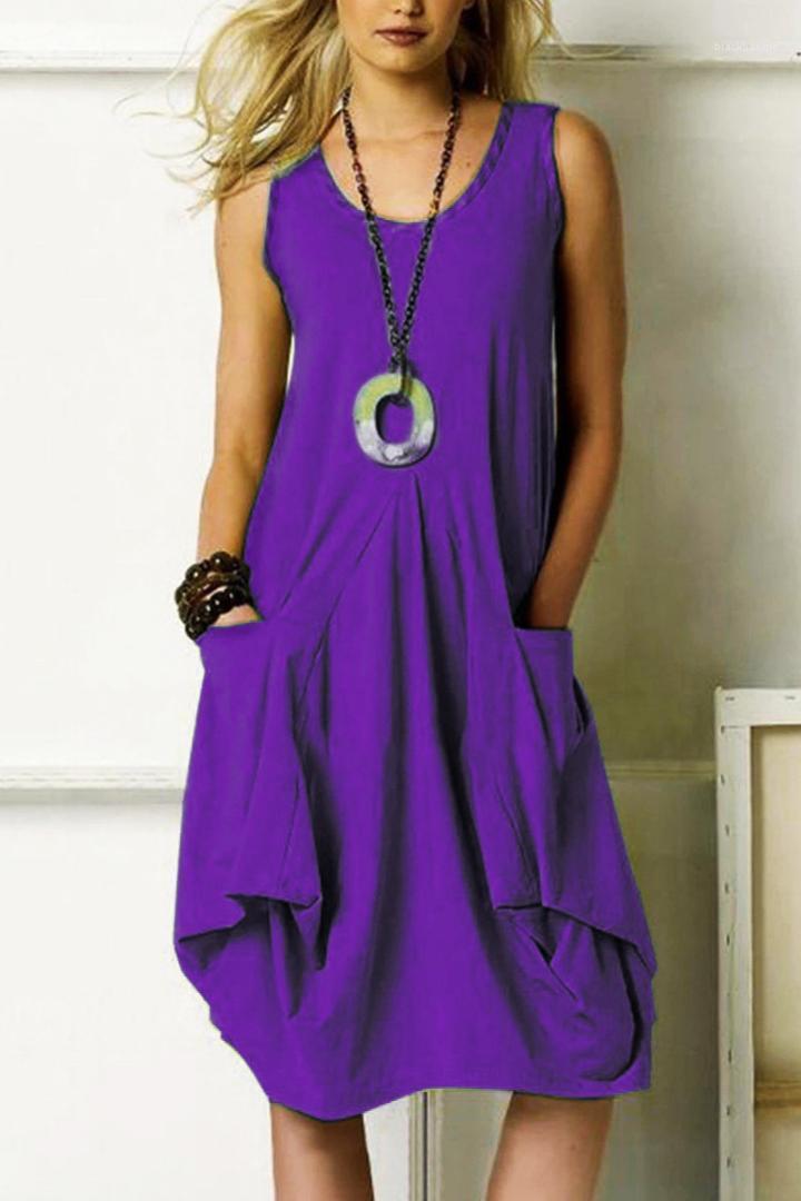 Giyim Yaz Tasarımcı Kadınlar Elbiseler Katı Renk Big Cep Düzensiz Baskılı Kolsuz Elbiseler Artı boyutu Kadınlar