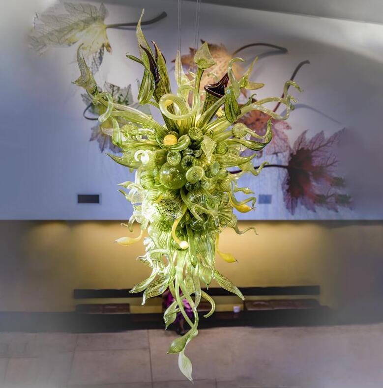 Green Colored Glass Nepenthes Chandelier Lighting Indoor Miscellaneous Hand Made Glass Foliage Chandelier for Entrance Halls Reception Areas