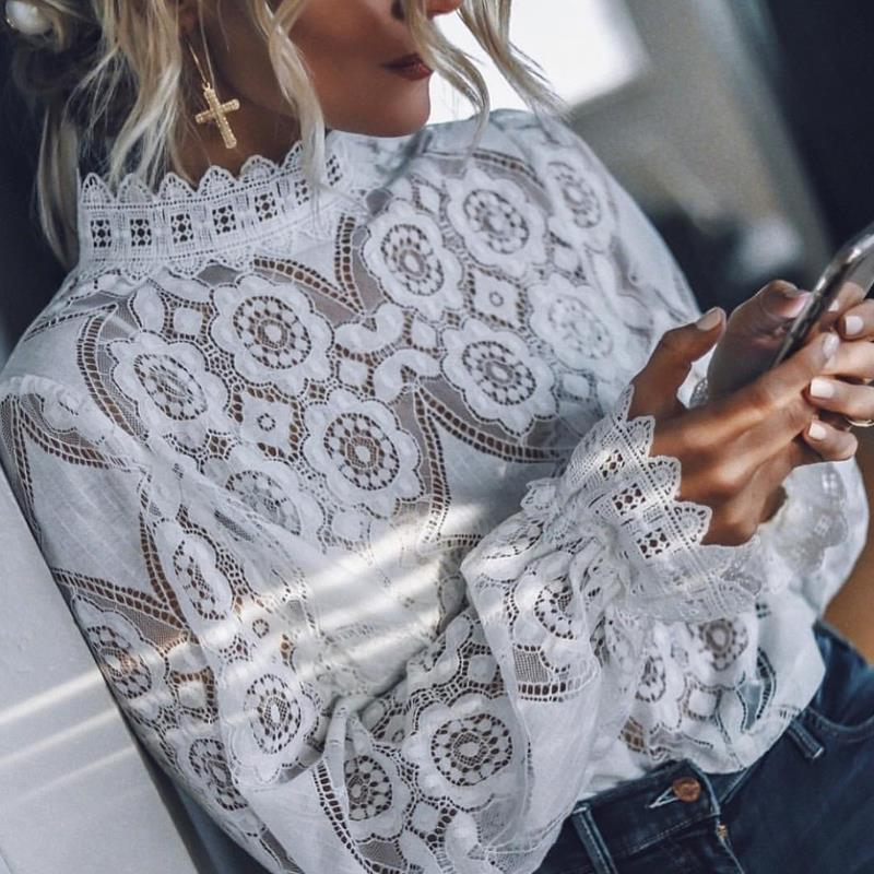 Seksi perspektif siyah beyaz bluz yaz üstleri ve bluzlar Vintage uzun kollu dantel gömlek streetwear bohem giyim 2019 womens