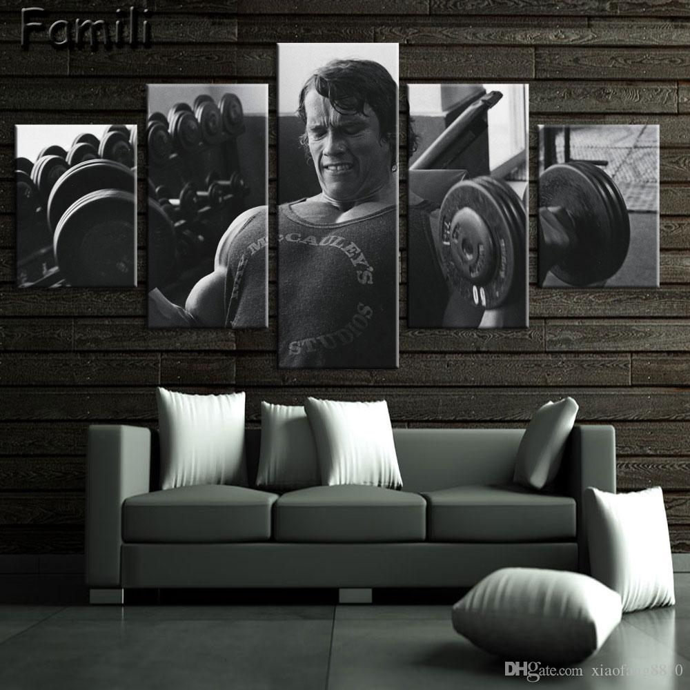 5pcs Superstar Fitness bodybuilding Poster Fabric Silk Black And White Poster Print Great Pictures On The Wall