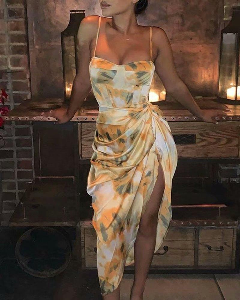 Повседневная женская ретро печати платье плиссированные нерегулярные ремень платье женщин