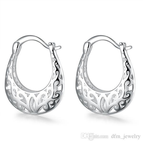 el envío libre de plata de ley pendientes plateados hebilla hueco luna DJSE632 tamaño 2.5x2.0CM; pendiente de la placa del oído del manguito 925 joyería de plata de las mujeres