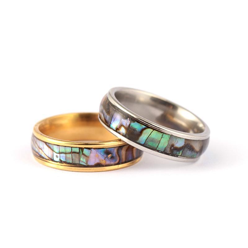 Anello in acciaio inox argento classico / oro in acciaio inox anello di marca Fine Brand Shell Colorful Shell Bridal Wedding Engagement