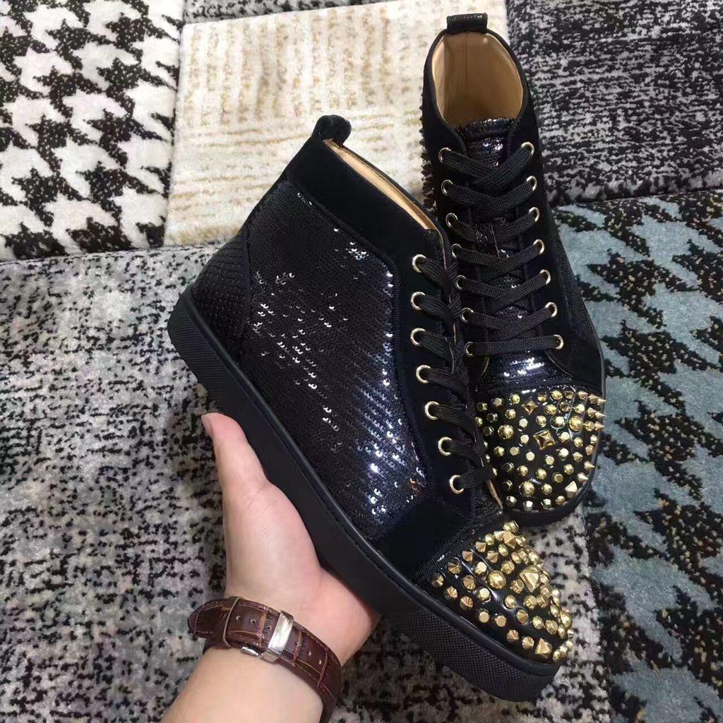 2019 NUOVE scarpe da ginnastica firmate di marca -Top paillettes oro nero punte dorate fondo rosso piatto per uomo e donna scarpe da ginnastica scarpe casual di design