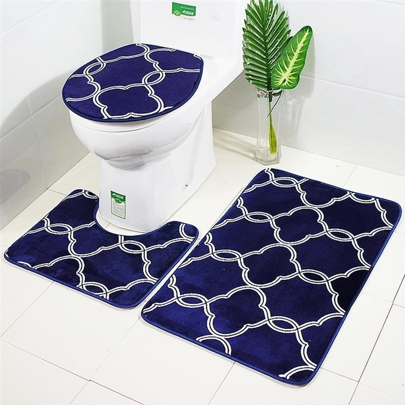 3 in 1 Lantern Pattern Bathroom Mat Set Antiskid Washroom Carpet Contour Mat Toilet Seat Lid Cover SH190919