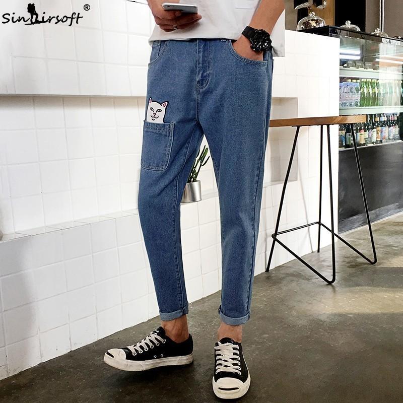 2019 Bande Dessinée Imprimé Crayon Pantalon Hommes Casual Streetwear Pleine Longueur Denim Jeans Mâle Modèle Chat Grand Pantalon À Poche D'été Nouveau
