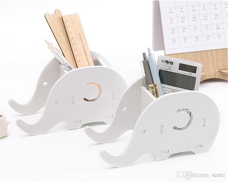 Elefante diy escritório desktop caixa de armazenamento caneta titular rack de telefone titular do desktop diversos artigos de papelaria organizador de armazenamento