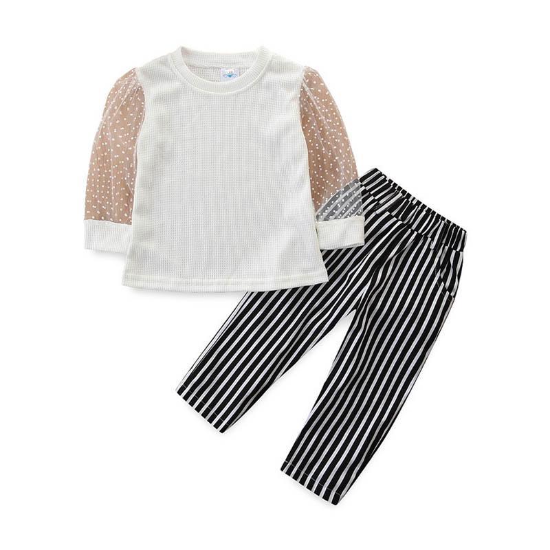 Ins 2020 Verão ternos meninas tarja meninas outfits blusa + calças calças 2pcs / set crianças doces ternos crianças roupas de grife meninas B1511 varejo
