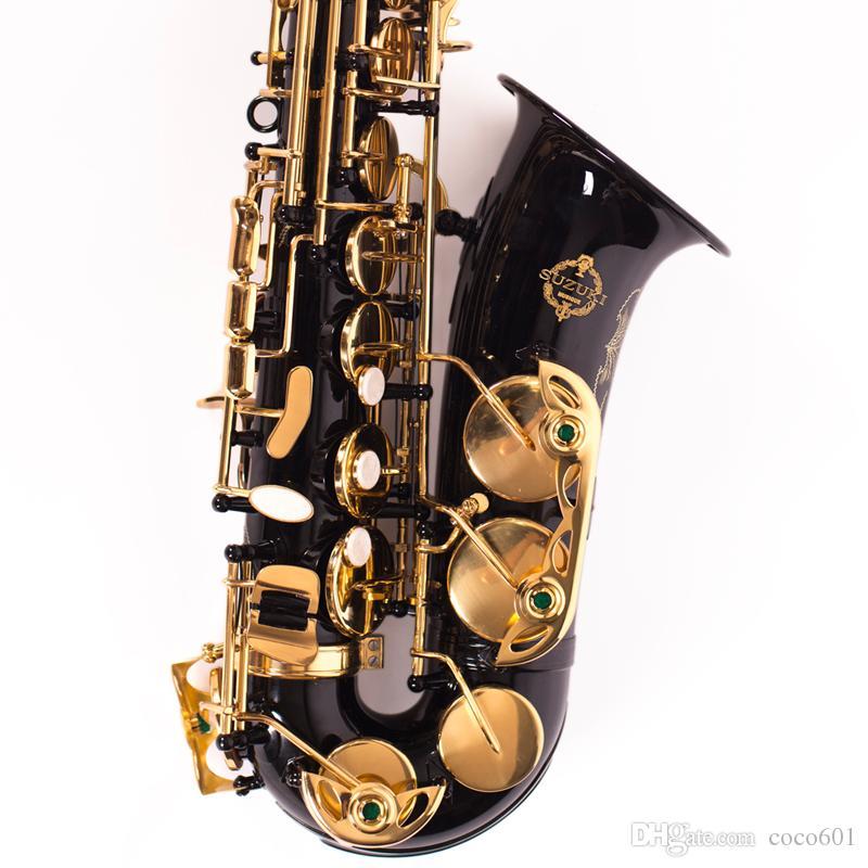 Performance SUZUKI LAS-1000 Professional E Flat Alto Saxophone de haute qualité en laiton Tube noir Instrument de musique avec Embouchure