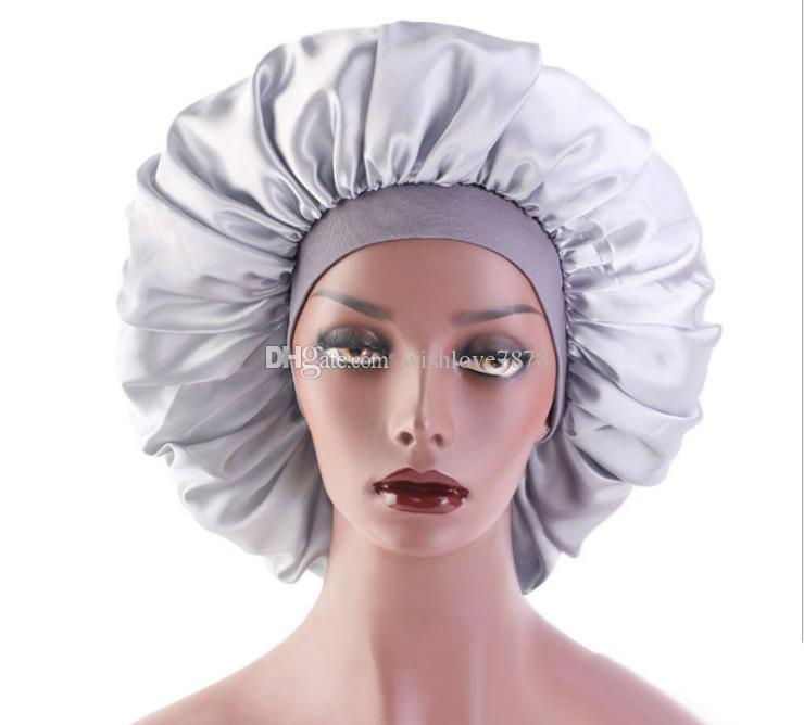 Super Big Size 42cm Beauty Salon Cap Satin Bonnet Cap Sleep Night Cap Head Cover Bonnet Hat for For Curly Springy Hair 5 Colors