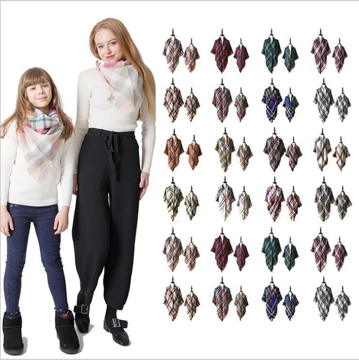 Eltern-Kind-Plaid Pashmina-Schal Mode Mutter Kinder Maxi-Tartan-Verpackungs-Schal im Freien Quaste Dreieck Schals Marke Warme Decke LT1510