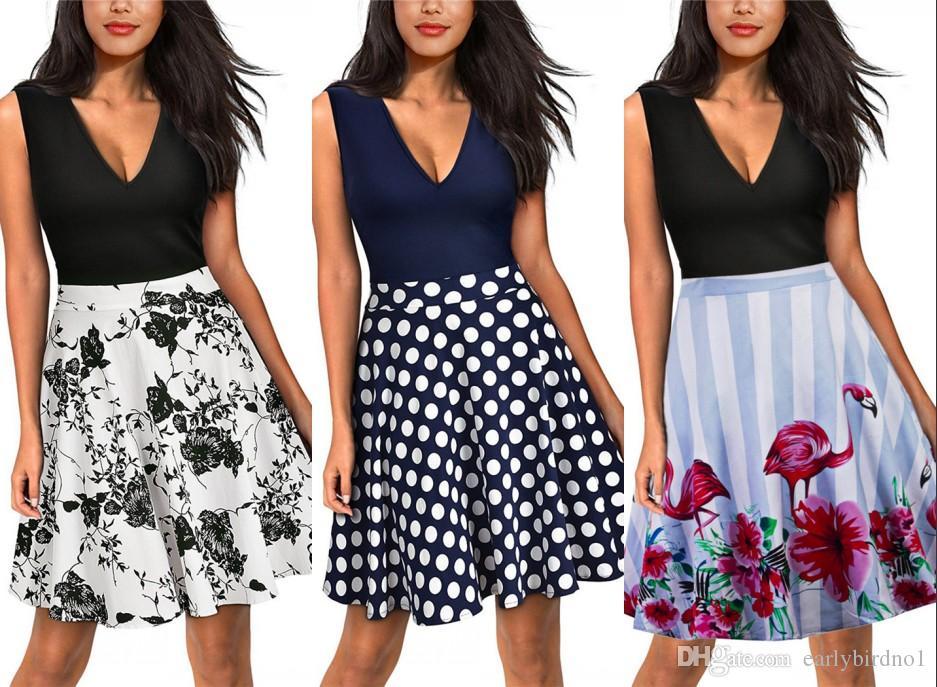 De cintura alta flora Impreso Mini corta una línea vendimia de las mujeres del verano faldas de la llamarada con volados vestidos de las mujeres FS1797