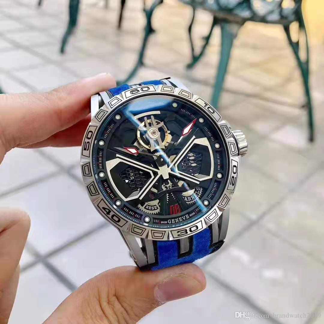 Nouvelle de haute qualité mens montres de luxe série Roi EXCALIBUR RDDB0750 Maître en acier inoxydable montres bracelet mécanique auto automatique Sport