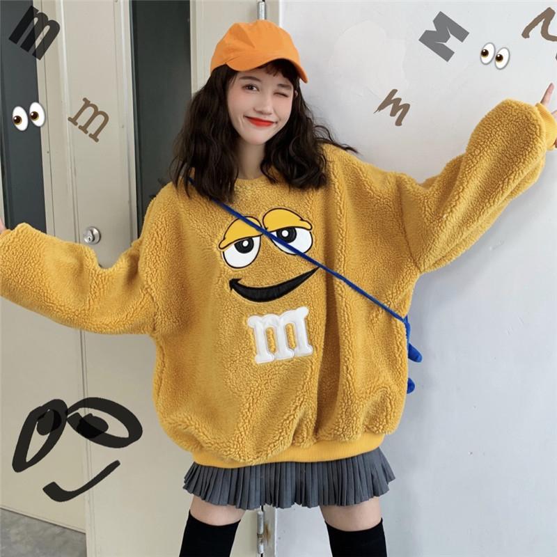 2020 Girl Cute Cartoon Fleece Sweatshirt Oversized Big Eyes Warm