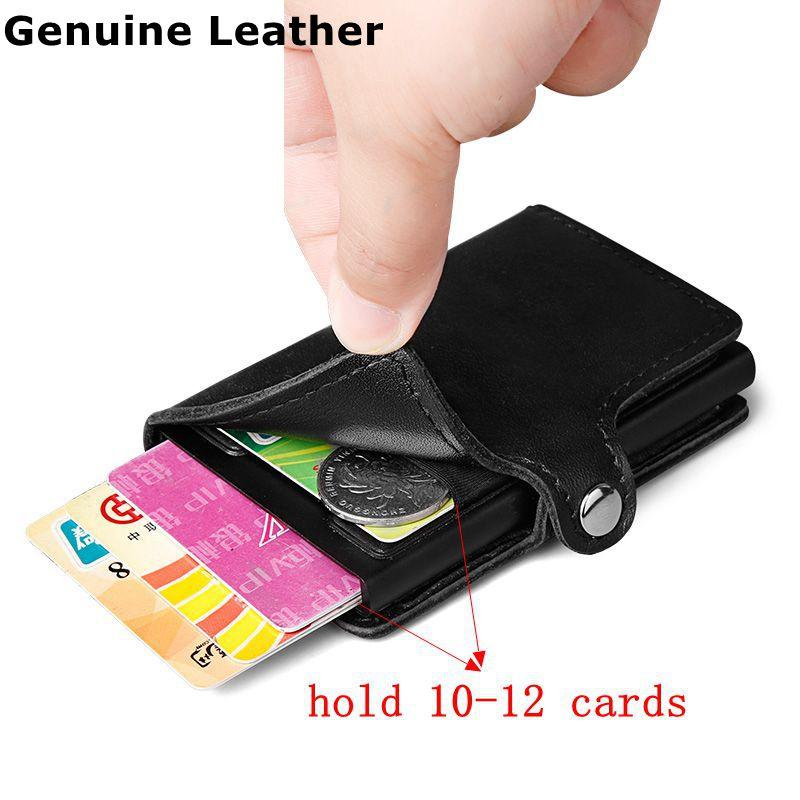 Top Genuine Leather RFID Blocking ID Credit Cards Holder mini hasp Wallet Purse
