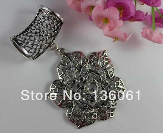 Moda vintage lega d'argento mosaico strass fiore rosa fascini set fai da te gioielli accessori sciarpa diapositiva
