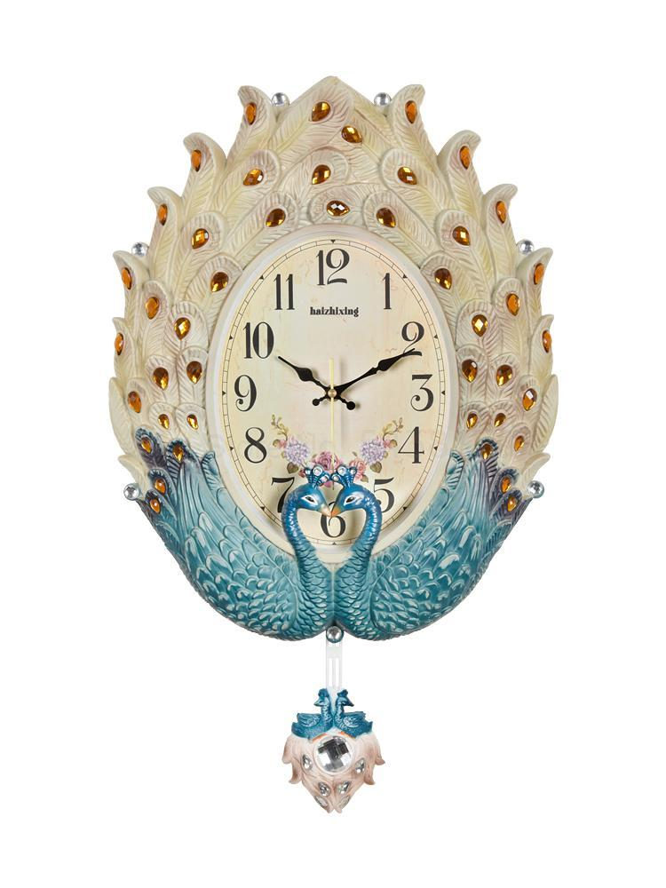 Peacock wall clock living room European clock decoration clocks creative fashion mute table artist Nordic watch