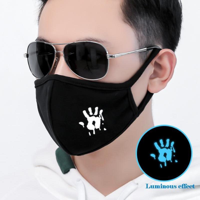 6 Styles Masques lumineux visage coton noir Couple Cartoon chaud Masque anti-poussière Respirant réutilisables YYA75