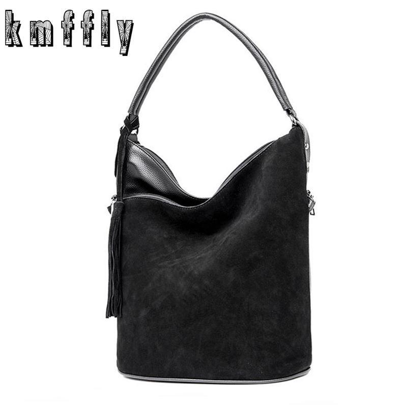 Fashion Faux Suede Handbags Women Bags Tassel Bucket big Shoulder Bag 2018Sac a Main Femme High Quality Tote Bag