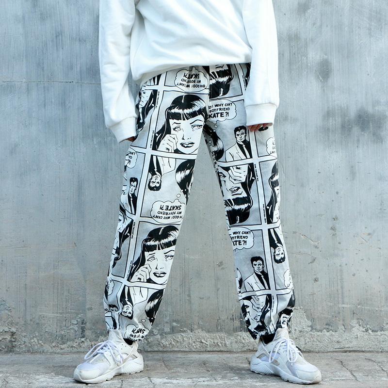 Compre Hip Hop Pantalones De Primavera Y Verano Pintada Japonesa De Anime Pantalones Forman Parejas Pantalones Streetwear Masculina De Ee Uu Tamano S Xl A 27 64 Del Derricky Dhgate Com