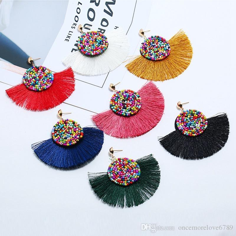 Frauen künstlichen farbigen Perlen halbrunden Bohemien langen hängenden fächerförmigen Troddelohrringe 7 Farbmischreihe mit Fransen 12 Stück