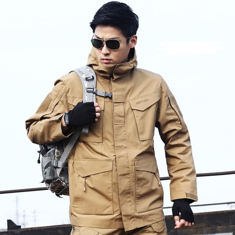 Ejército chaqueta de la capa impermeable rompevientos impermeable de caza ropa Army Men prendas de vestir exteriores de los hombres chaquetas abrigos