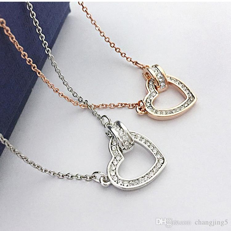 Fashion Beating heart clavicle chain new gold silver blue white ladies necklace