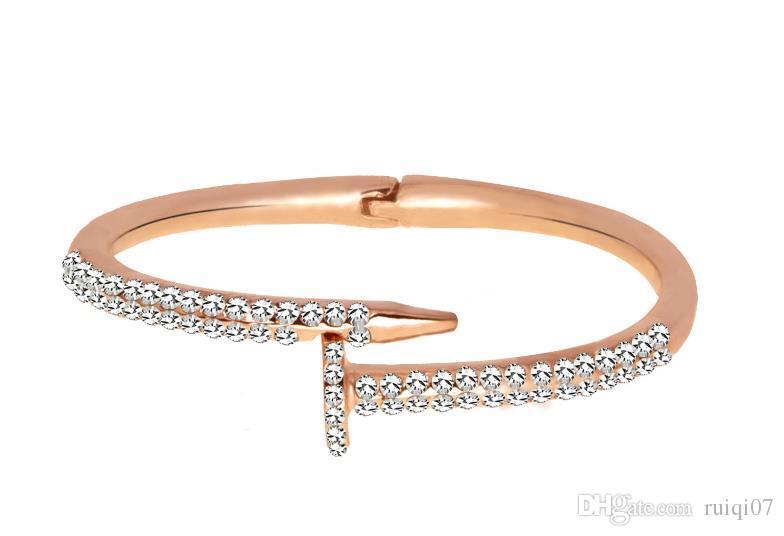Moda Pulseira De Cristal para Mulher Zircon Pavimentada Rodada de Prata de Ouro Da Cor do Sexo Feminino Pulseiras Pulseiras Bangles ZK20 S915