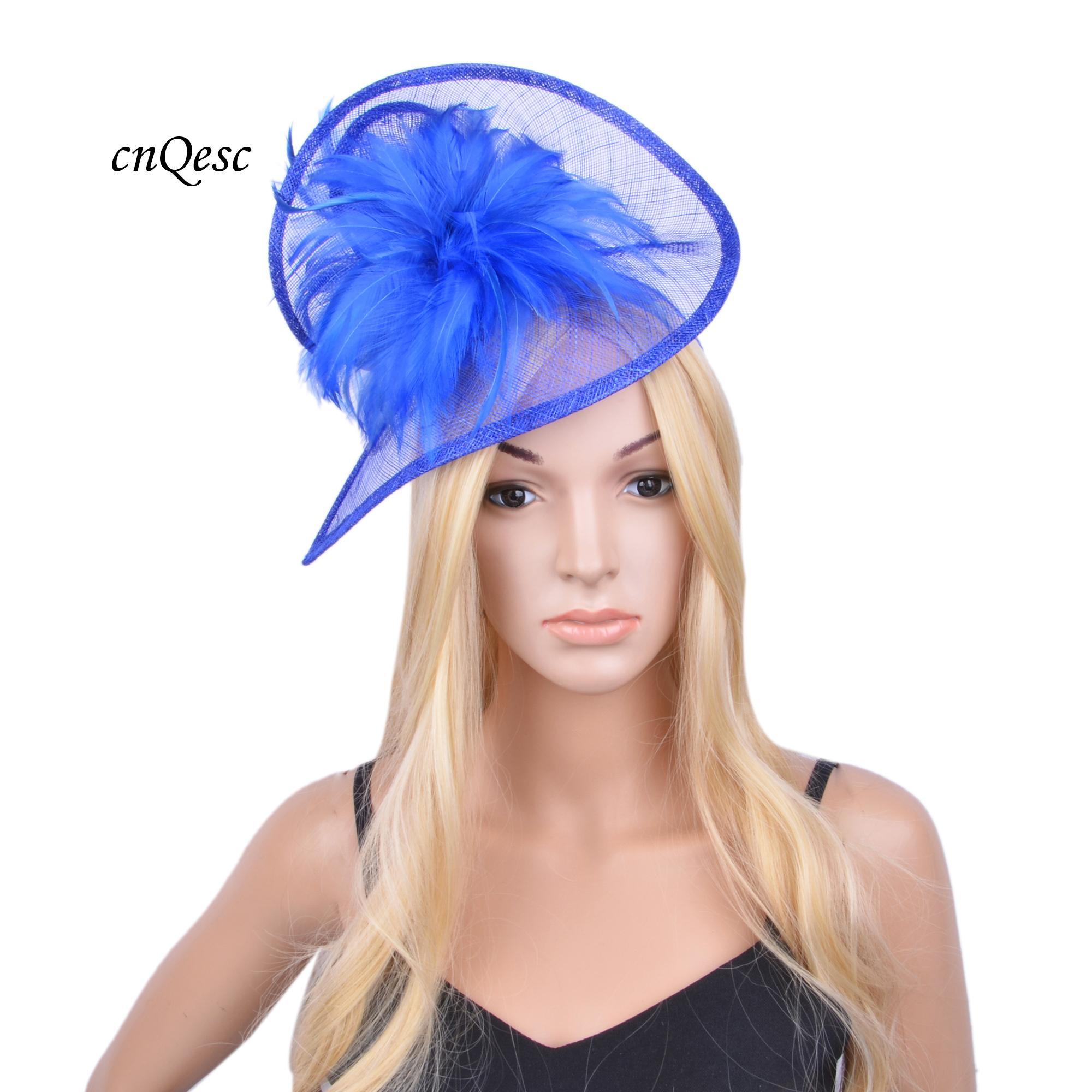 2020 Nuevo Azul real Sinamay sombrero del fascinator formal del vestido con plumas de razas wedding.Kentucky Derby