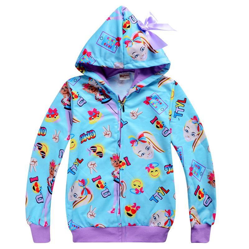 jojo Siwa ropa niños sudaderas con capucha de la cremallera primavera y el otoño 3-12t niños niñas sudaderas con capucha chaqueta de la capa 110-150cm niños Ropa para niñas ASS406