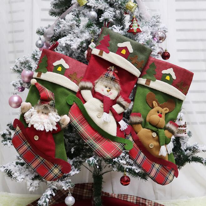56 стилей рождественские украшения мешок подарков рождественские чулки Санта увольняет рождественские украшения Дети конфеты мешок чулок Новый год Prop Xmas 1401